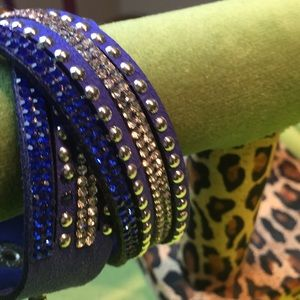 Jewelry - Royal Blue Multi Wrap Bracelet Crystals on Leather